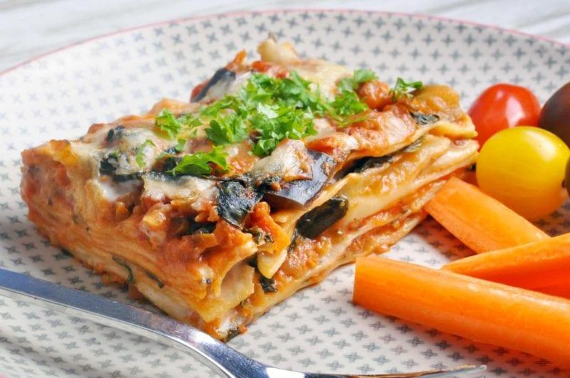 Grøntsagslasagne med spinat og aubergine
