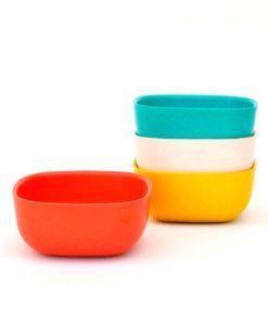 Fire-Gusto-skaale-i-turkis-orange-gul-og-hvid