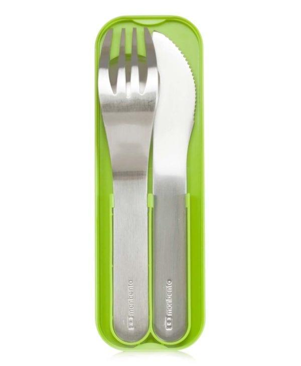 Bestik til madkasse. Monbento MB Pocket i rustfrit stål (grøn)