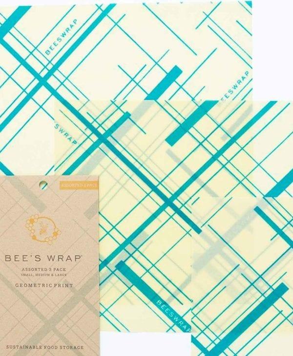 Bees wrap madindpakning tre styk med geometrisk-mønster