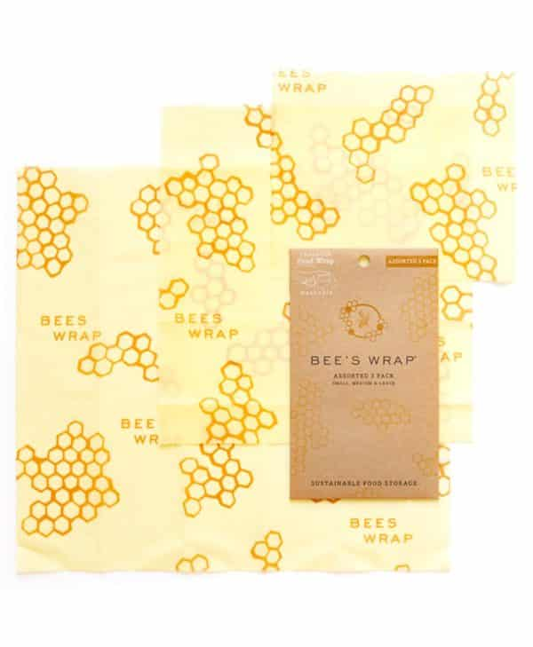 Bees wrap madindpakning i tre størrelser med bikuber