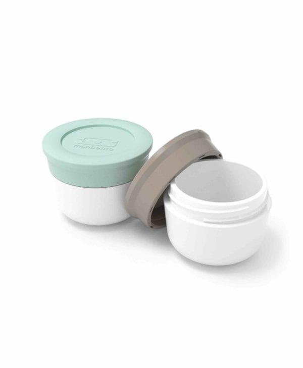 Smarte bøtter til madpakken fra Monbento - mint og grå