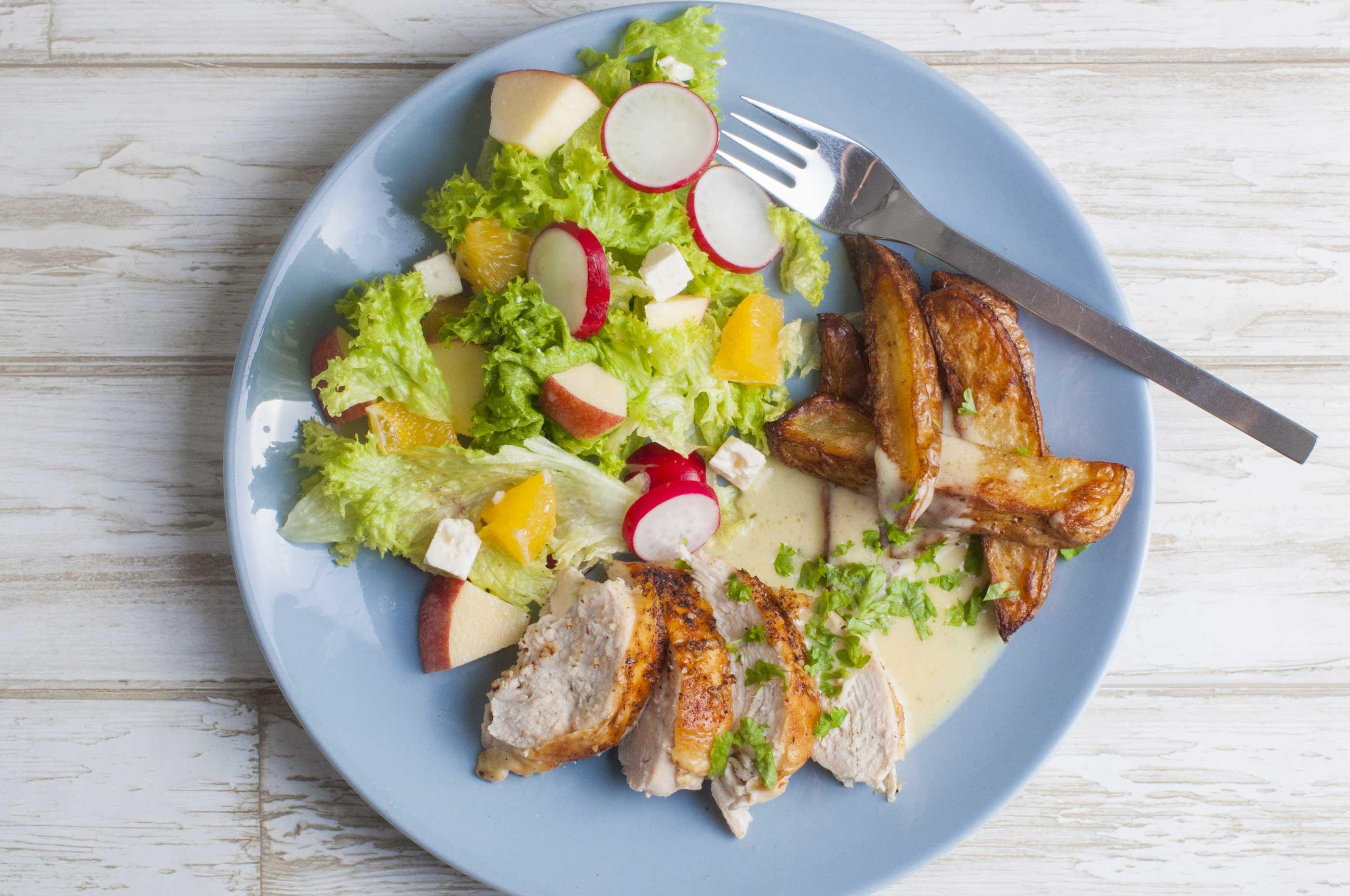 salat og kylling