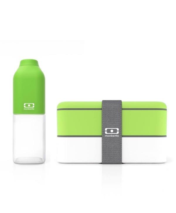Nyt udstyr til madpakken med dette sæt fra Monbento - madkasse og drikkedunk i grøn