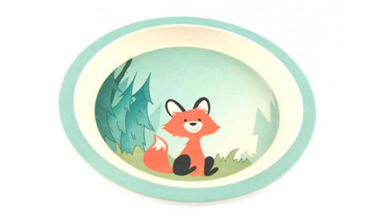 Fin tallerken i bambus til børn med sød ræv