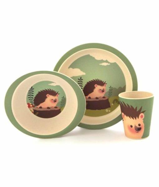 Super fint spisesæt til børn med pindsvinmotiv