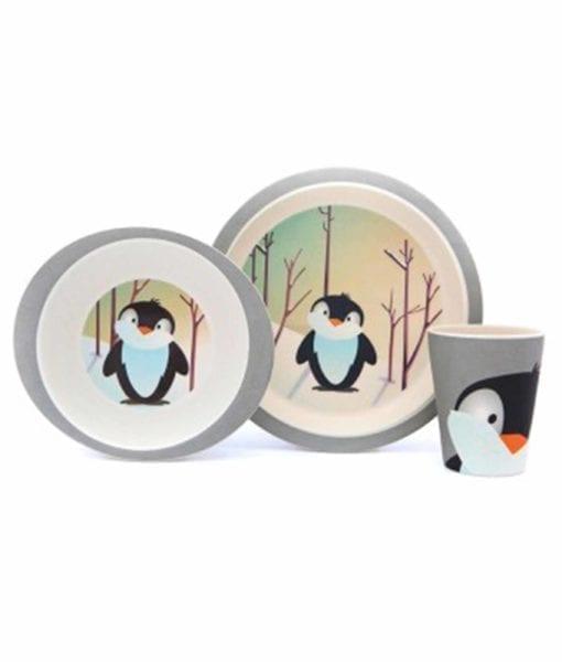 YUUNAA bambussæt med sød pingvin