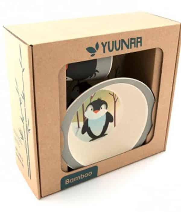 YUUNAA pingvinsæt i bambus til børn