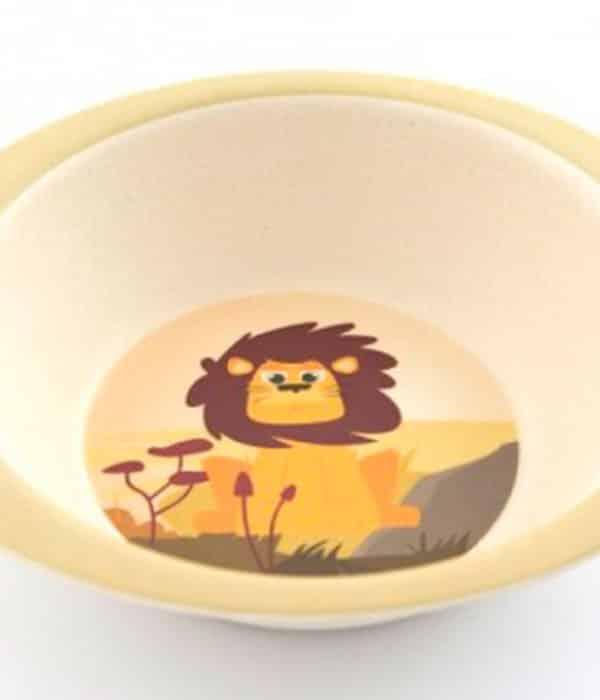 Bambusskål til børn med sød løve