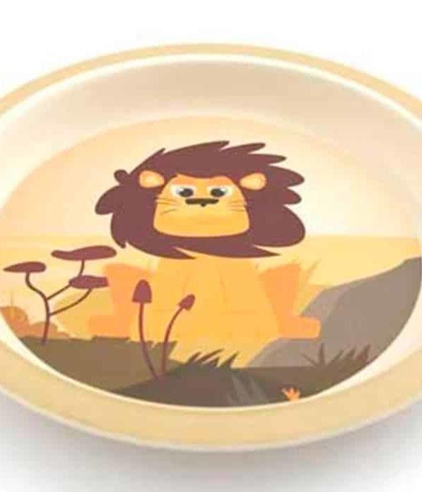 Bambustallerken til børn med sød løve
