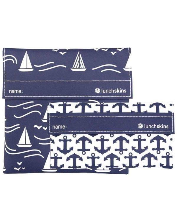 2 stk. genanvendelige snackposer med anker og skibe