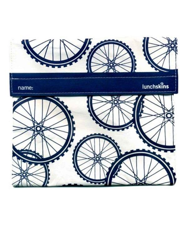 Stor frugt og snackpose med velcro med motiv af cykelhjul