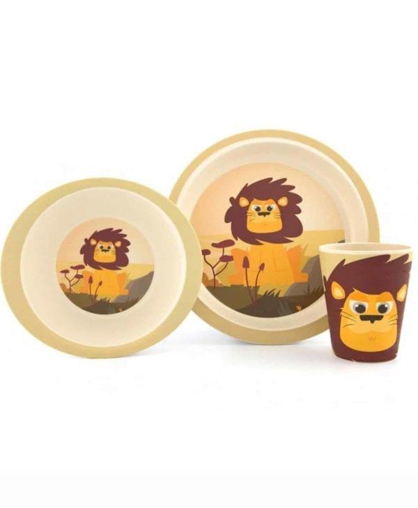 YUUNAA spisesæt i bambus til børn med sød løve