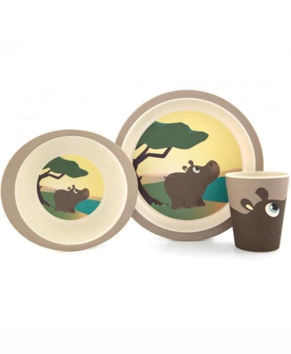 YUUNAA spisesæt i bambus til børn med fin flodhest