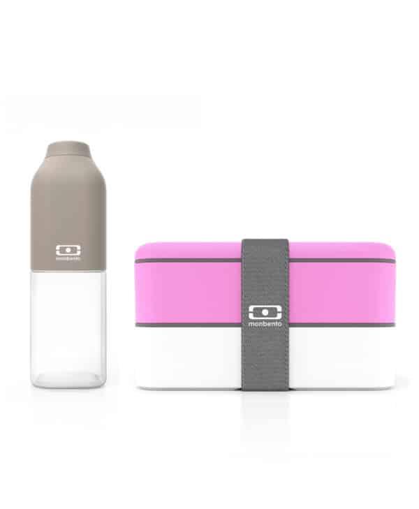 Monbento madkasse og drikkedunk i lyserød og grå