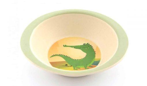 Sej bambus skål med krokodille