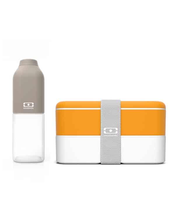 Smart sæt med madkasse og drikkedunk fra Monbento i grå og gul