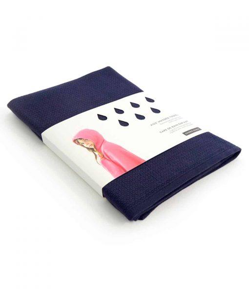 Håndklæde med hætte til børn i økologisk bomuld - mørkeblå