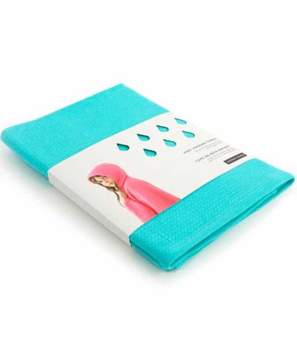 Håndklæde med hætte til børn i økologisk bomuld - turkis