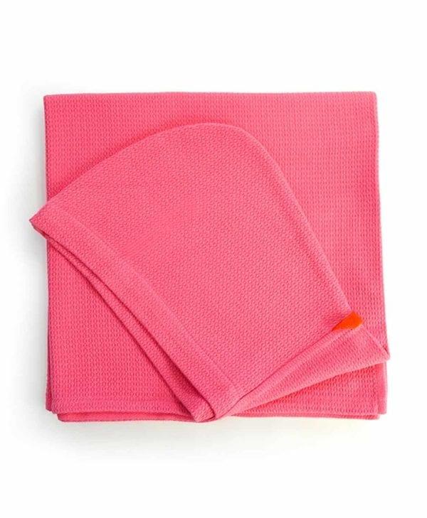 Håndklæde til børn i økologisk bomuld fra Ekobo - lyserød