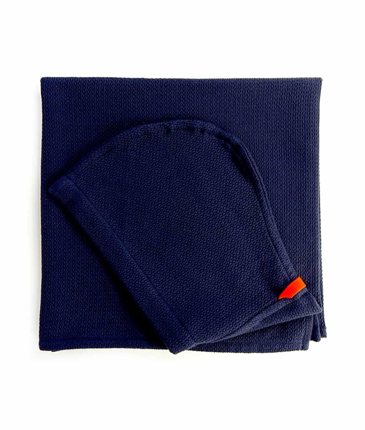 Håndklæde til børn i økologisk bomuld fra Ekobo - mørkeblå