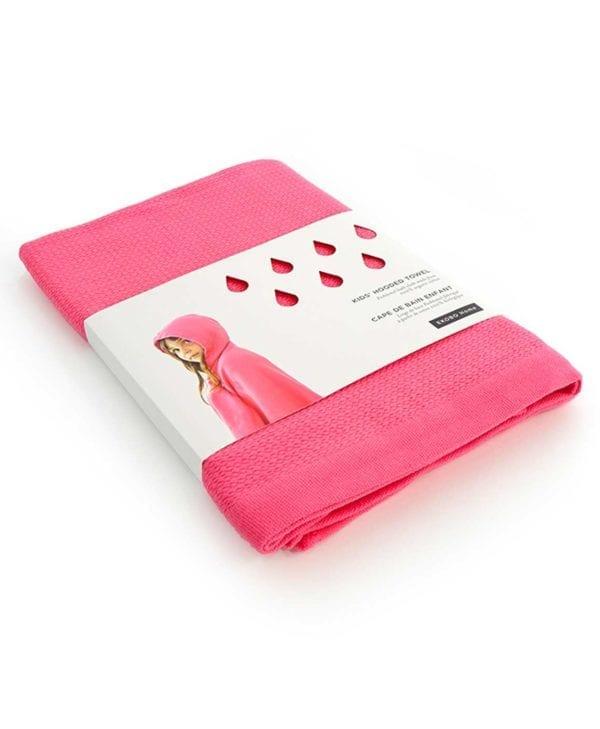 Håndklæde med hætte til børn i økologisk bomuld - lyserød