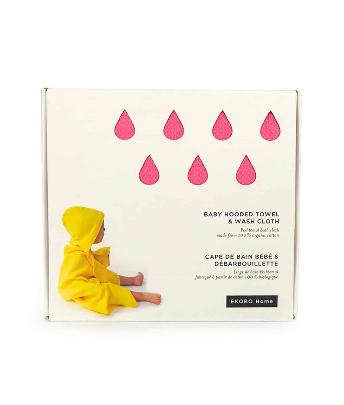 Ekobo - økologisk baby-håndklæde-med-vaskeklud-i-lyserød