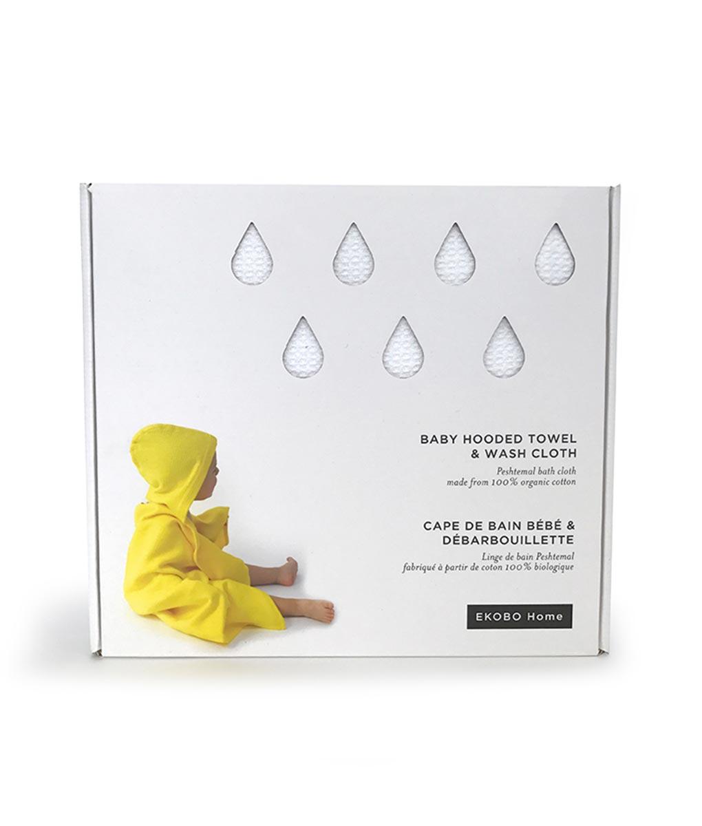 Ekobo - økologisk baby-håndklæde-med-vaskeklud-i-hvid