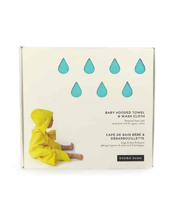 Ekobo - økologisk baby-håndklæde-med-vaskeklud-i-mørkeblå
