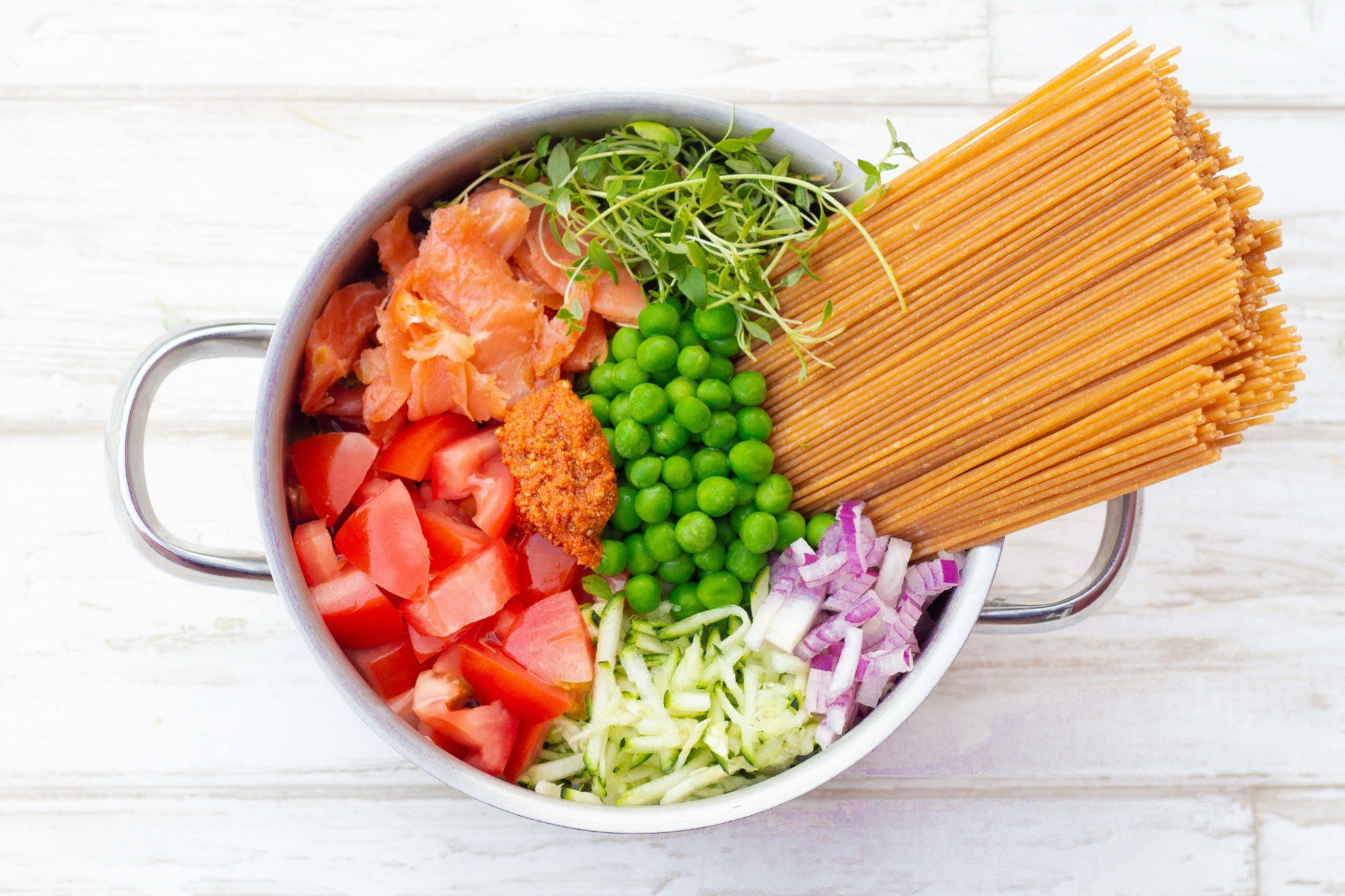 Nem Og Lækker One Pot Pasta Med Laks Quash ærter Og Tomat