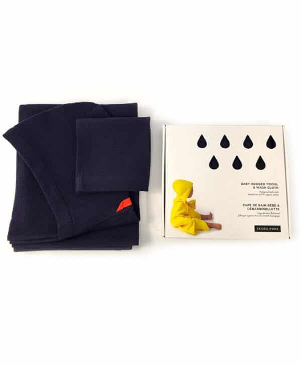 Babyhåndklæde og vaskeklud i økologisk bomuld fra Ekobo - blå