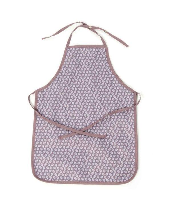 Smallstuff forklæde til børn med mønster af lilla blade