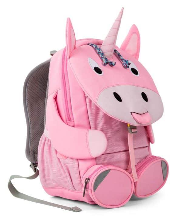 Affenzahn rygsæk til børn med flere rum og navneskilt enhjørning