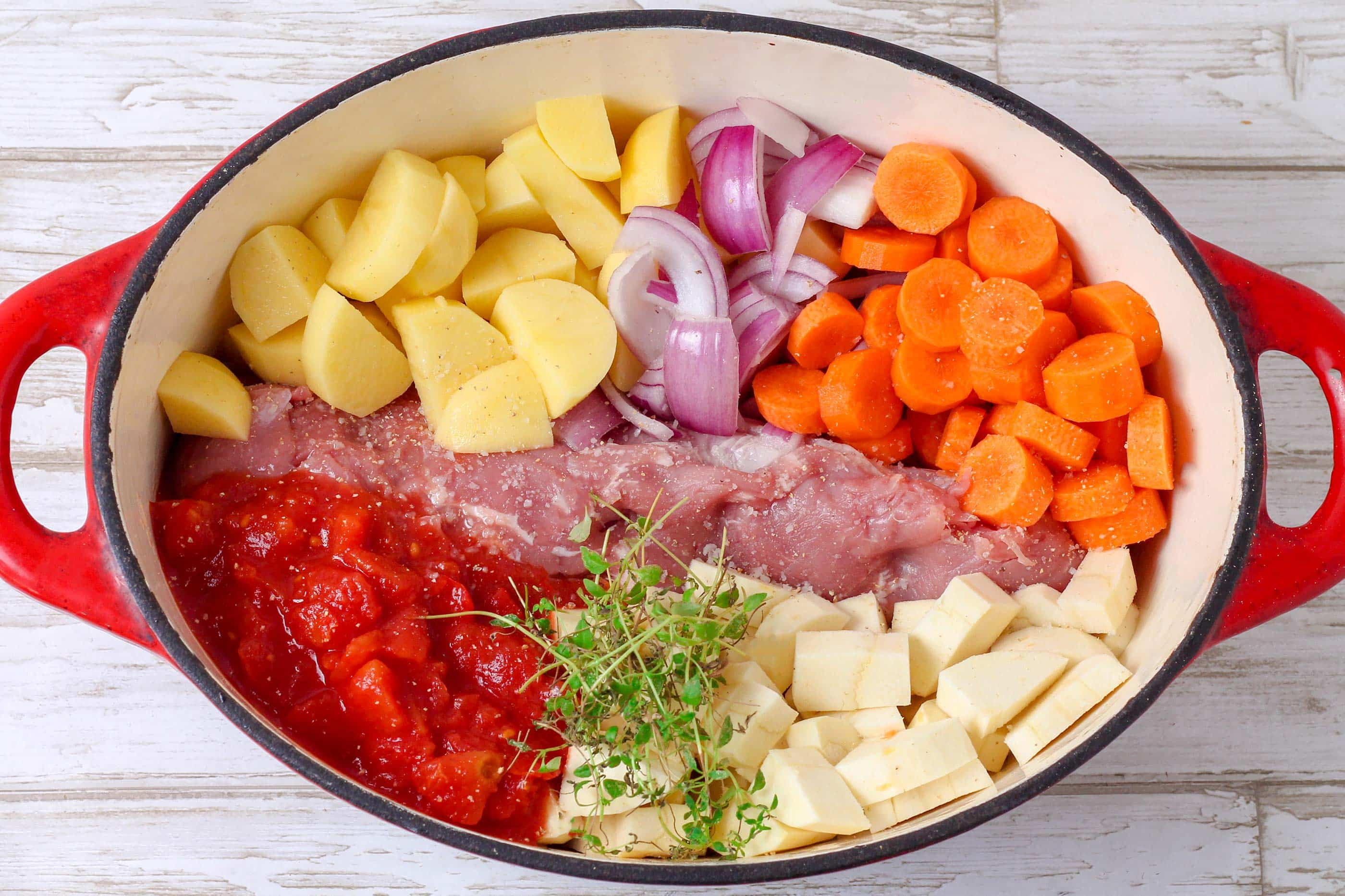 One Pot Med Svinemørbrad Kartofler Og Knoldselleri