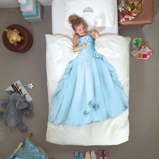 Snurk sengetøj blå prinsesse i sin seng