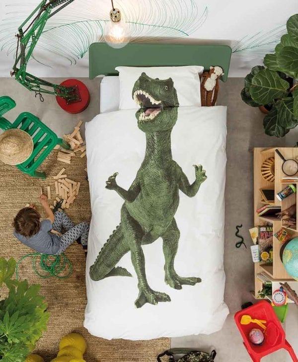 Snurk sengetøj dinosaur i sengen