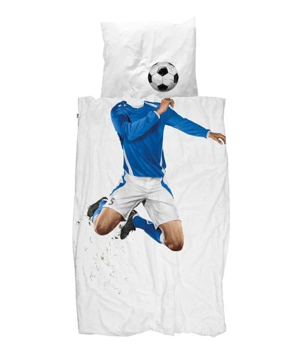 Snurk sengetøj fodbold blå