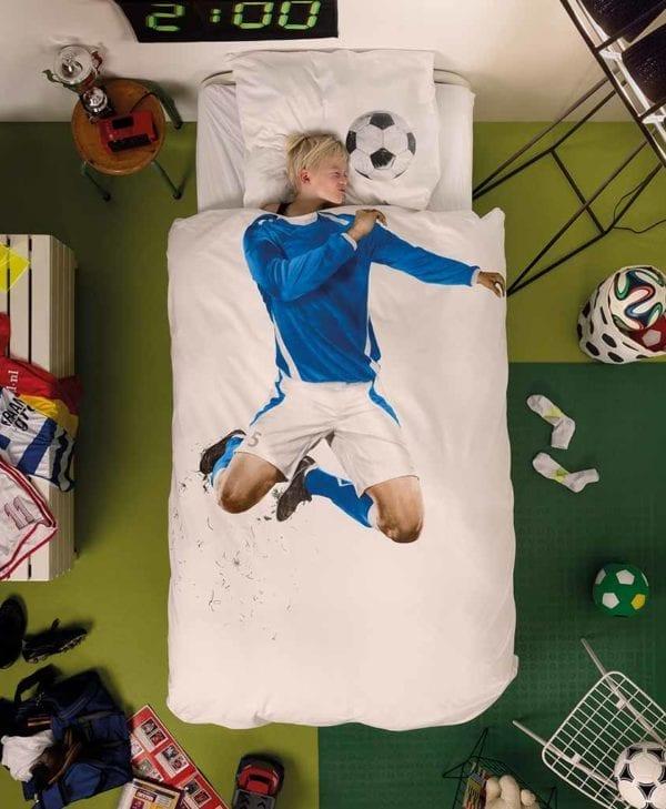Snurk sengetøj fodboldspiller i blå