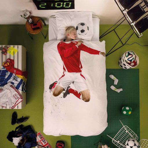 Snurk sengetøj fodboldspiller i rød