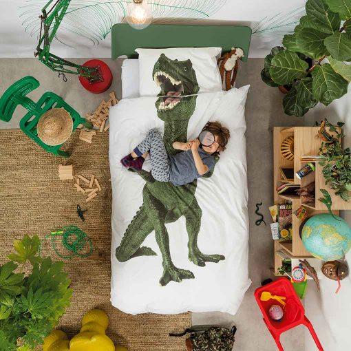 Snurk sengetøj junior - barn på seng - dinosaur