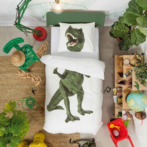 Snurk sengetøj junior - dynen er foldet - dinosaur