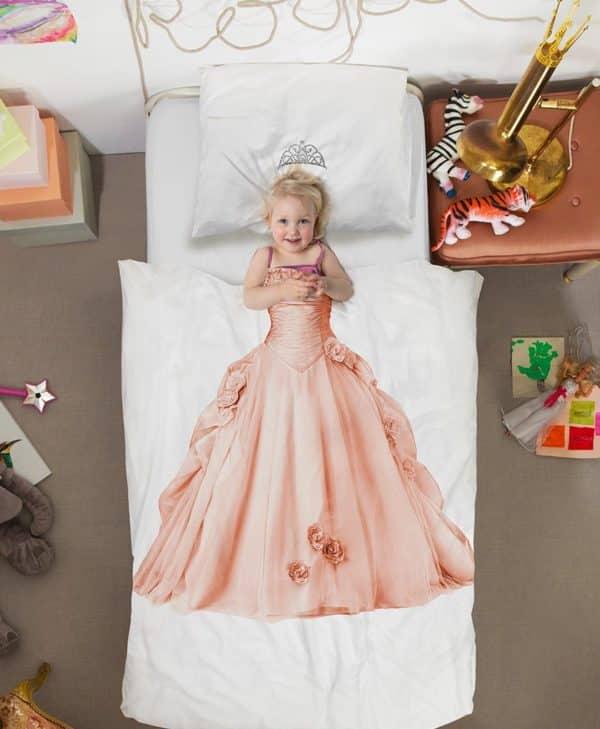 Snurk sengetøj junior - med barn - prinsesse pink