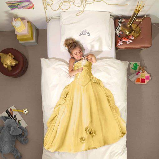 Snurk sengetøj junior - med barn - prinsesse gul