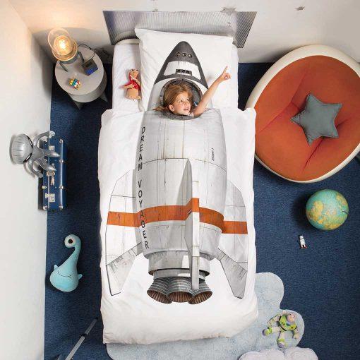 Snurk sengetøj junior - to the moon - rumraket