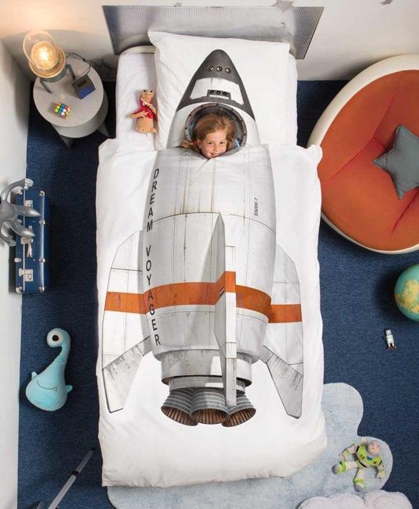 Snurk sengetøj junior - med barn - rumraket