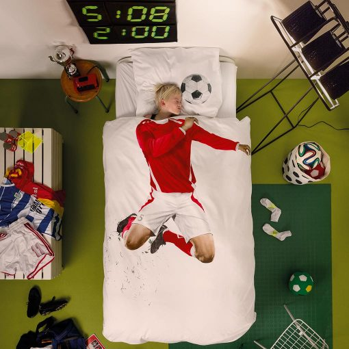 Snurk sengetøj junior - med barn - fodboldspiller