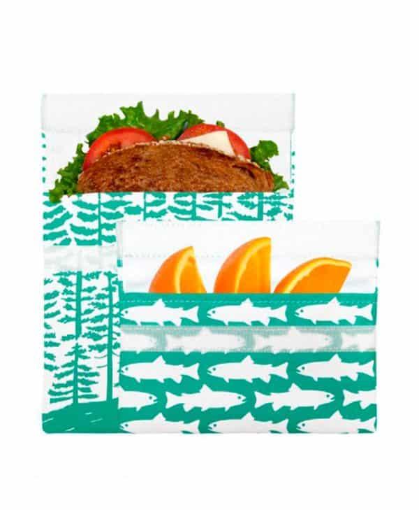 Lunchskins miljøvenlig genanvendelige poser med velcro calypso forrest