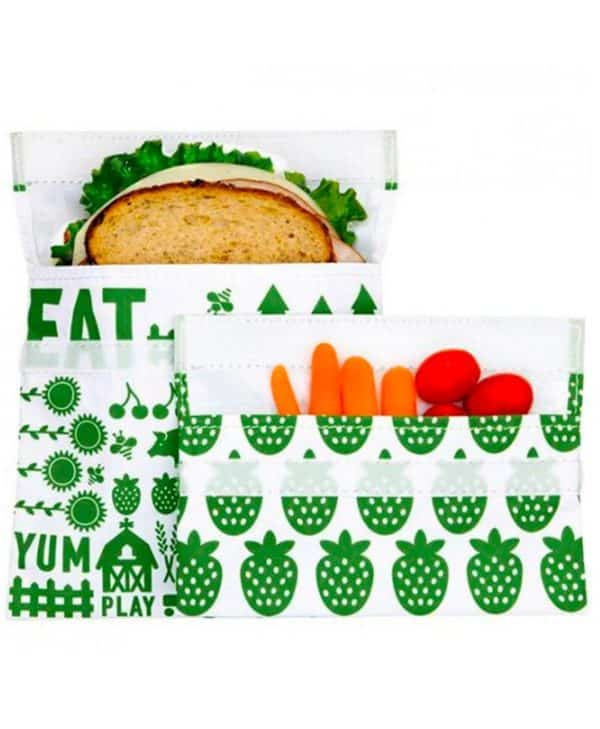 Lunchskins miljøvenlige genanvendelige poser med velcro farm
