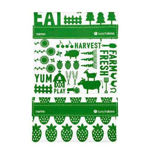 Lunchskins smarte genanvendelige poser med velcro to stk farm