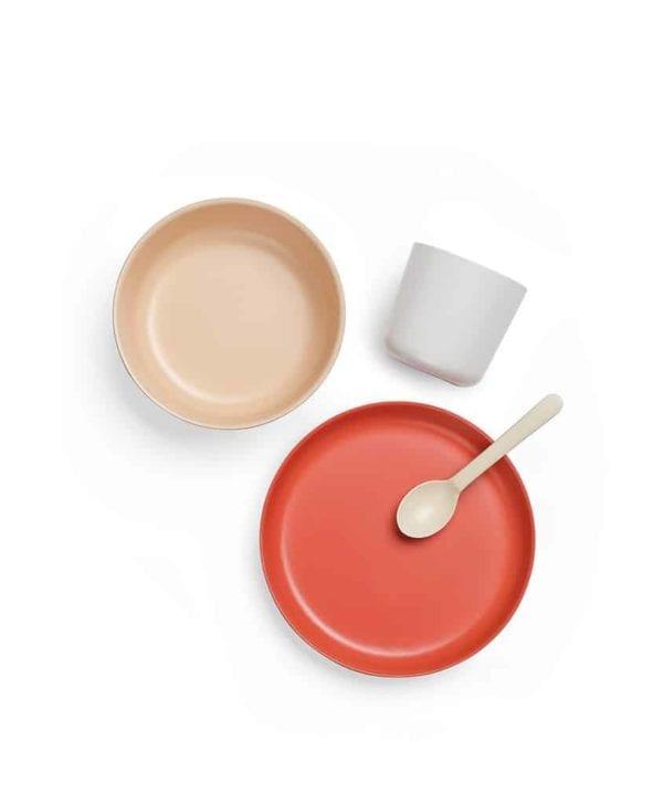 Ekobo Biobu sæt tallerken skål kop ske i bambus
